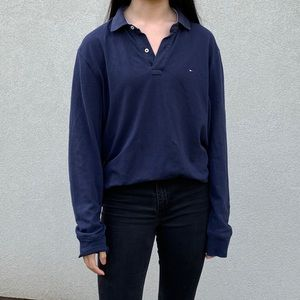 Tommy Hilfiger navy long sleeve polo shirt